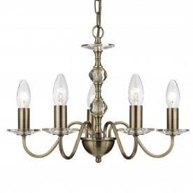 MONARCH - 5LT CEILING ANTIQUE BRASS WITH STACK CLEAR GLASS BALLS & GLASS SCONCES
