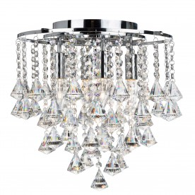 DORCHESTER - 4LT FLUSH CEILING CHROME WITH CLEAR CRYSTAL BUTTONS & PYRAMID DROPS
