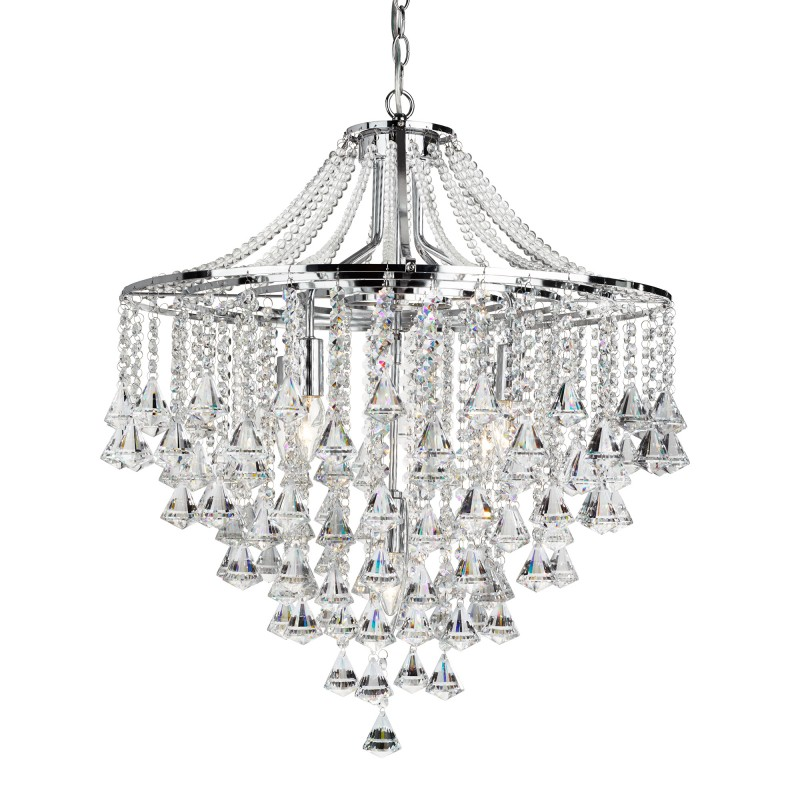 DORCHESTER - 5LT CEILING CHROME WITH CLEAR CRYSTAL BUTTONS & PYRAMID DROPS