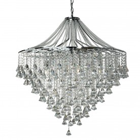 DORCHESTER - 7LT CEILING CHROME WITH CLEAR CRYSTAL BUTTONS & PYRAMID DROPS