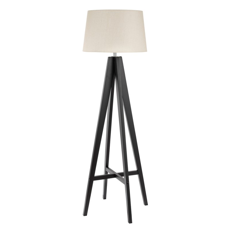 TRIPOD - FLOOR LAMP DARK WOOD - CREAM LINEN SHADE