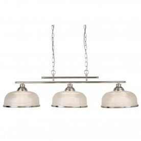 BISTRO II - 3LT CEILING BAR SATIN SILVER HALOPHANE GLASS