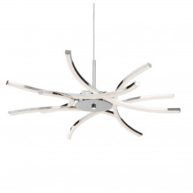 BARDOT 6LT LED CEILING PENDANT CURVED CHROME ARMS