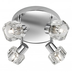 LED TRITON -  4LT SPOTLIGHT PLATE CHROME CLEAR GLASS