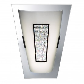 WALL LIGHT LED - 16xLED CHROME MIRROR EDGE WHITE GLASS SHADE & CRYSTAL INNER DECO