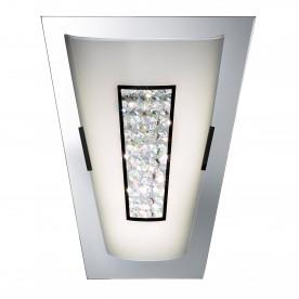 WALL LIGHT LED - 16xLED CHROME MIRROR EDGE WHITE GLASS SHADE & CRYSTAL INNER DECO