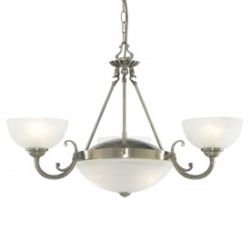 WINDSOR - 5LT CEILING ANTIQUE BRASS ALABASTER GLASS