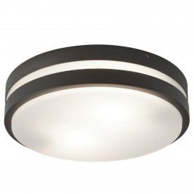 OUTDOOR 2LT ROUND DARK GREY OPAL WHITE DIFFUSER FLUSH