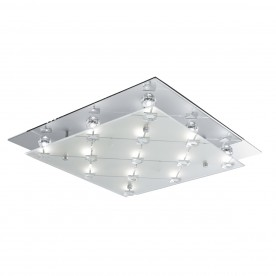 FLUSH - LED CEILING FLUSH CHROME FROSTED GLASS/CRYSTAL DECO