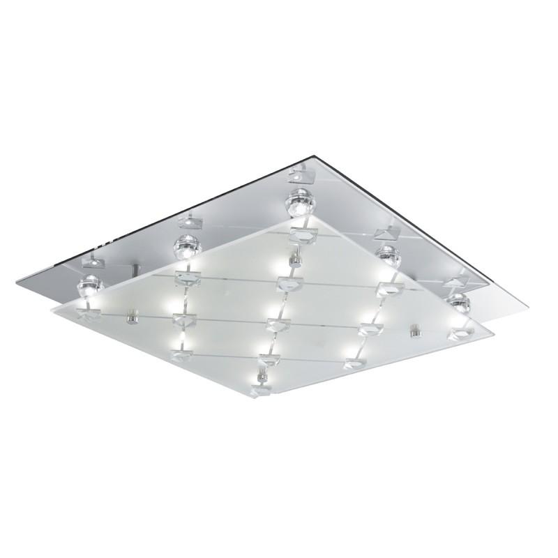 FLUSH - LED CEILING FLUSH CHROME FROSTED GLASS/CRYSTAL DECO
