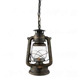 HURRICANE  - 1LT MINERS LANTERN PENDANT BLACK GOLD WITH HURRICANE GLASS SHADE