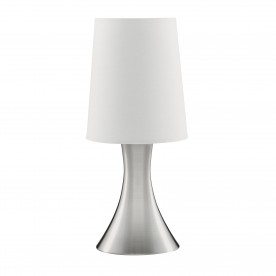 TOUCH TABLE LAMP SATIN SILVER BASE WHITE TAPERED SHADE