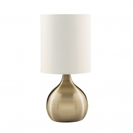 TOUCH TABLE LAMP ANTIQUE BRASS BASE WHITE DRUM SHADE