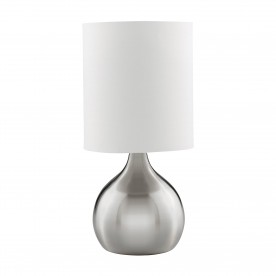 TOUCH TABLE LAMP SATIN SILVER BASE WHITE DRUM SHADE