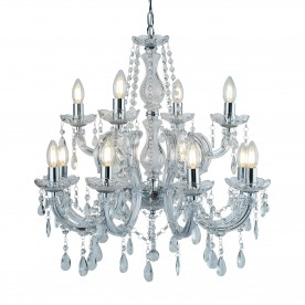 MARIE THERESE - 12LT CHANDELIER CHROME CLEAR CRYSTAL GLASS