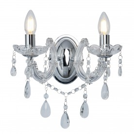 MARIE THERESE - 2LT WALL BRACKET CHROME CLEAR CRYSTAL GLASS