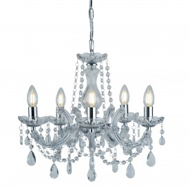 MARIE THERESE - 5LT CEILING CHROME CLEAR CRYSTAL GLASS