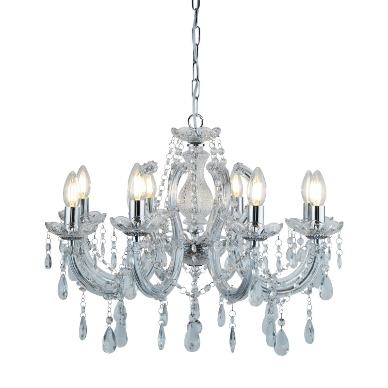MARIE THERESE - 8LT CEILING CHROME CLEAR CRYSTAL GLASS