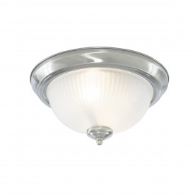 DELTA - 2LT IP44 CEILING FLUSH SATIN SILVER WITH ACID GLASS