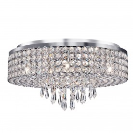ORION - 9LT CEILING FLUSH CHROME WITH CLEAR CRYSTAL GLASS BUTTON INSERTS & DROPS