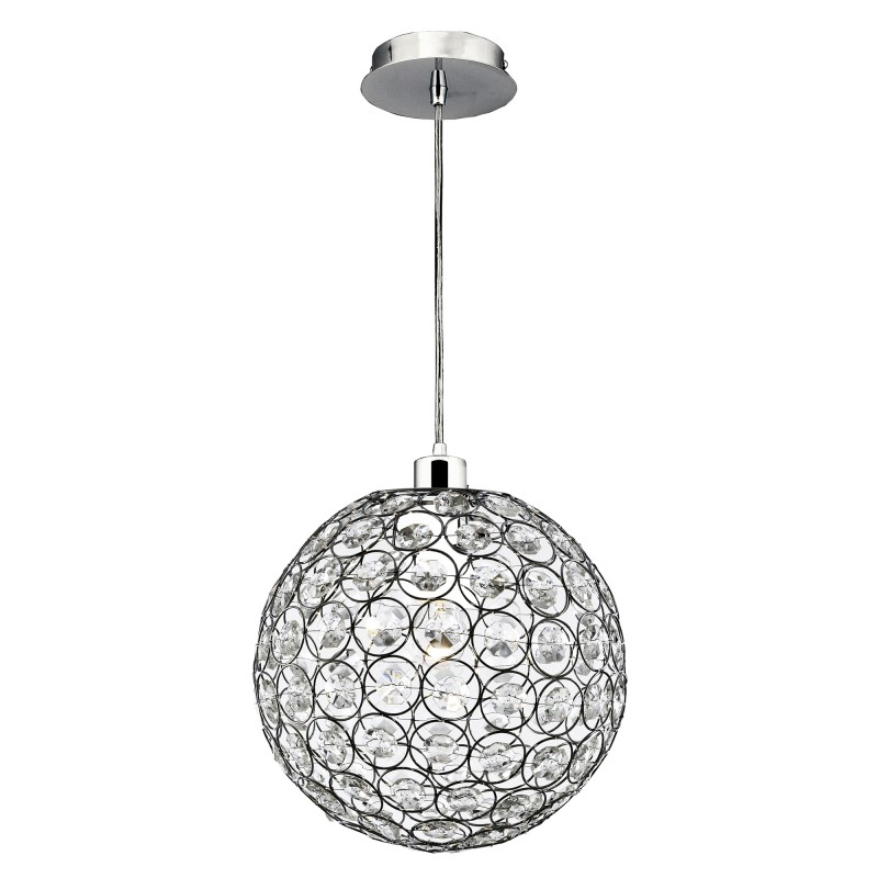 CHANTILLY PENDANT - 1LT CHROME WITH CLEAR ACRYLIC BUTTONS