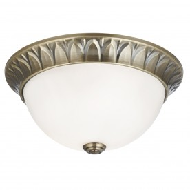 FLUSH - 2LT FLUSH ANTIQUE BRASS RIDGE DETAILED TRIM WITH FROSTED GLASS SHADE DIA 28CM