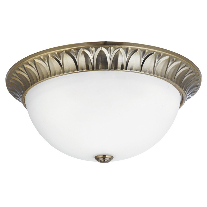FLUSH - 3LT FLUSH ANTIQUE BRASS RIDGE DETAILED TRIM WITH FROSTED GLASS SHADE DIA 38CM