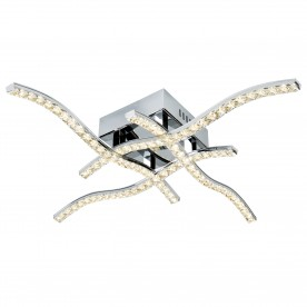 ANSON 4 ARM LED CEILING FLUSH CHROME CLEAR CRYSTAL TRIM