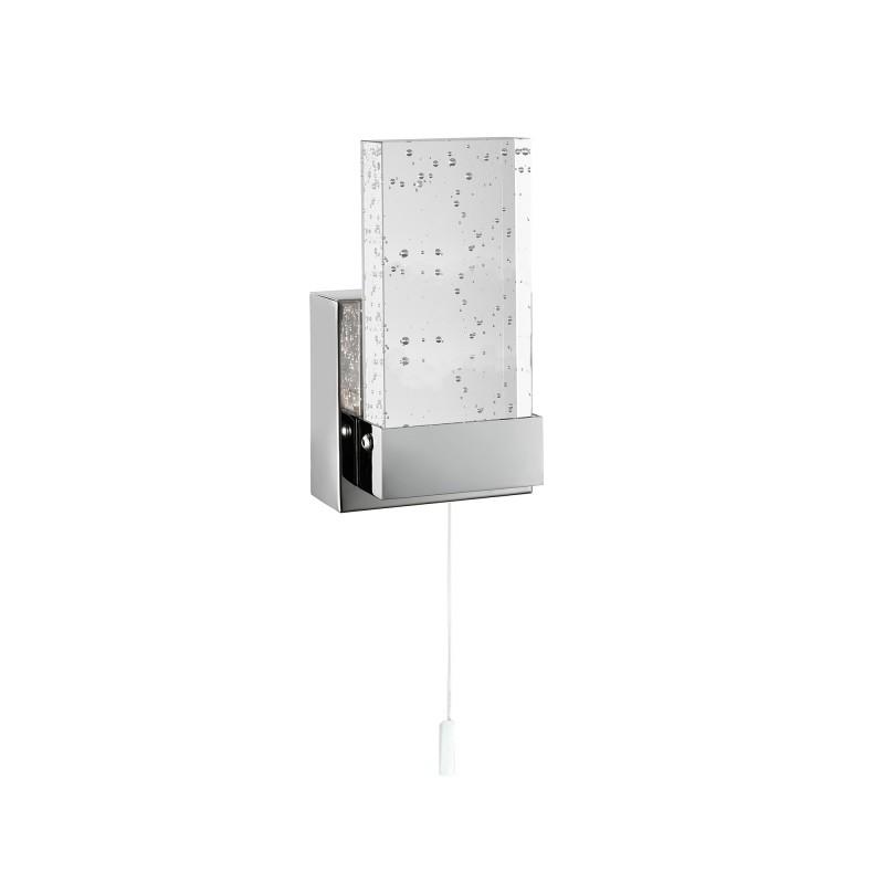 BATHROOM LED WALL BRACKET CHROME CLEAR BUBBLE GLASS