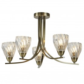 ASCONA II - 5LT CEILING S/FLUSH ANTIQUE BRASS TWIST FRAME CLEAR TWISTED GLASS SHADES