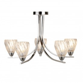 ASCONA II - 5LT CEILING S/FLUSH CHROME TWIST FRAME CLEAR TWISTED GLASS SHADES