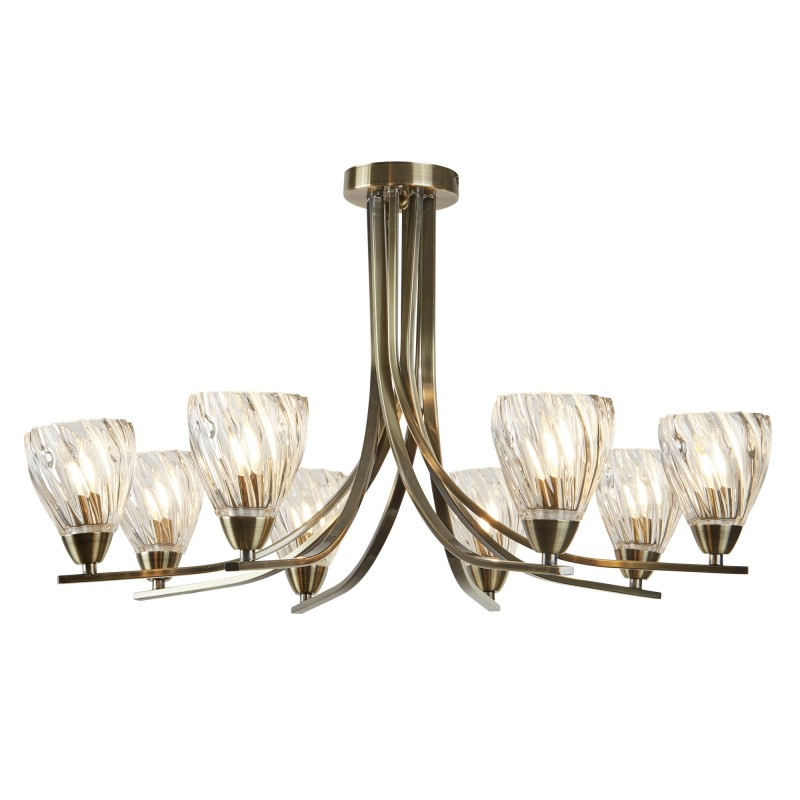 ASCONA II - 8LT CEILING S/FLUSH ANTIQUE BRASS TWIST FRAME CLEAR TWISTED GLASS SHADES