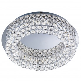 VESTA LED CEILING FLUSH CHROME CLEAR CRYSTAL BUTTOMS