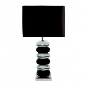 BRAVO TABLE LAMP (SINGLE) - PILLOW STACKED BLACK/CHROME BASE BLACK SHADE