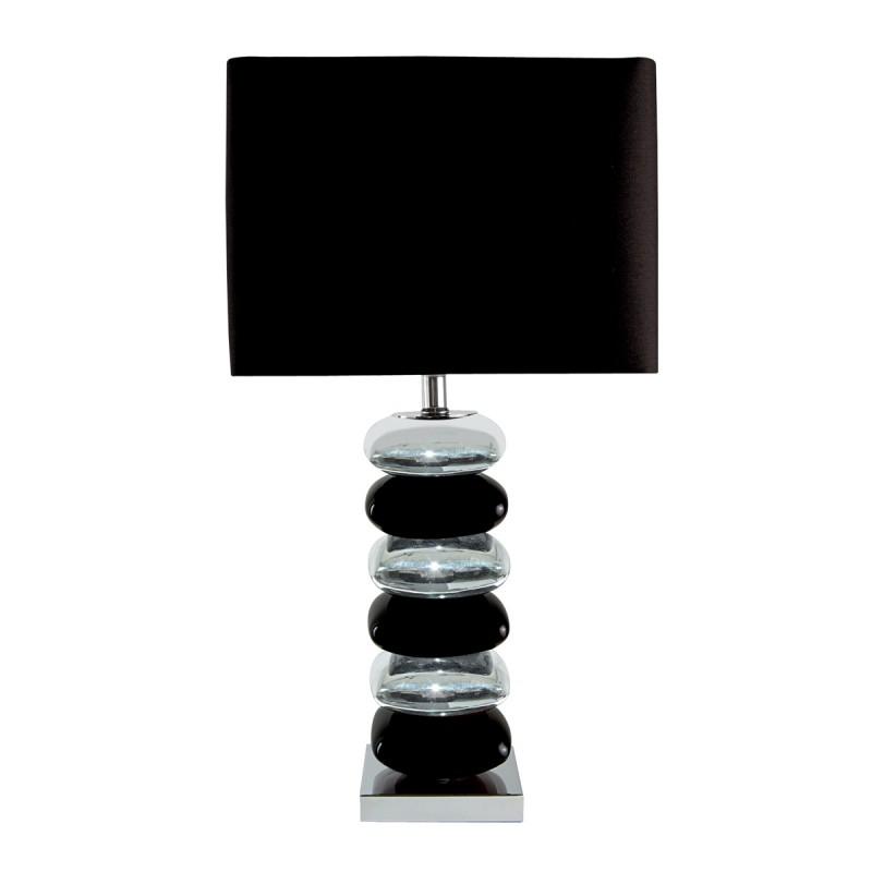 BRAVO TABLE LAMP (SINGLE) - PILLOW STACKED BLACK/CHROME BASE BLACK SHADE