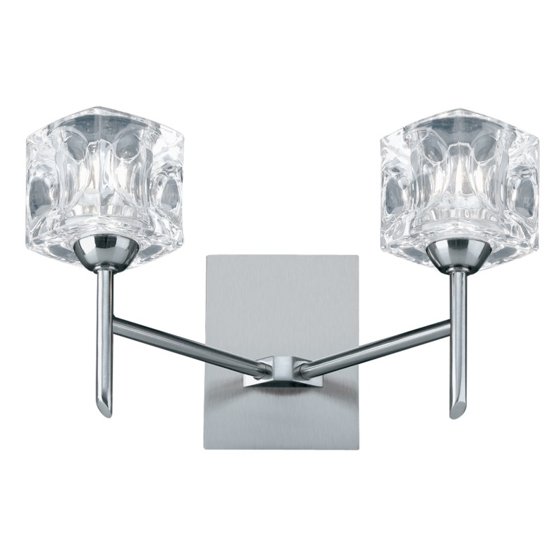 ICE CUBE LED - 2LT WALL BRACKET CLEAR GLASS SATIN SILVER