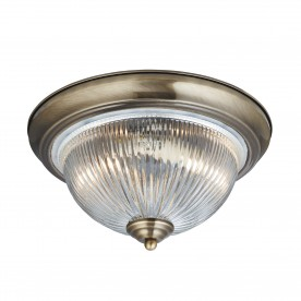 AMERICAN DINER - 2LT IP44 CEILING FLUSH ANTIQUE BRASS CLEAR GLASS