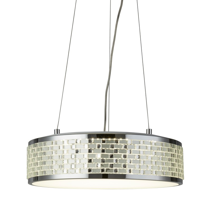 BALTIMORE LED 8LT CEILING PENDANT CHROME TILE EFFECT TRIM