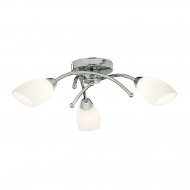 BATHROOM - IP44 (G9 LED) 3LT CHROME FLUSH WITH OPAL GLASS SHADES