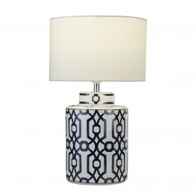 PUZZLE TABLE LAMP - CERAMIC DARK BLUE BRN&WHT BLOCK PAINTED BASE/WHT DRUM SHADE