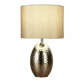 BROOKSIDE TABLE LAMP - CERAMIC HAMMERED GOLD BASE WITH FAUX SILK GOLD DRUM SHADE