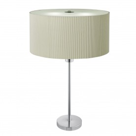 DRUM PLEAT 2LT TABLE LAMP CREAM PLEATED SHADE FROSTED GLASS DIFFUSER