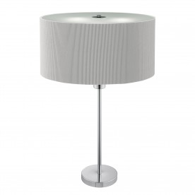 DRUM PLEAT 2LT TABLE LAMP SILVER PLEATED SHADE FROSTED GLASS DIFFUSER