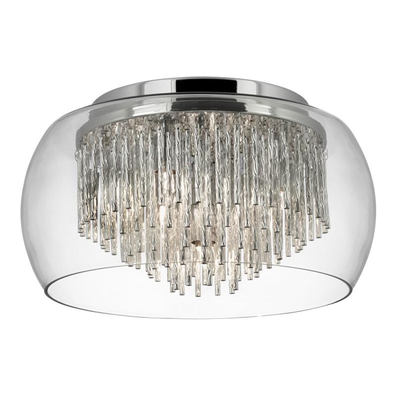 CURVA CLEAR GLASS SHADE 4LT FLUSH/ALUMINIUM SPIRAL TUBES