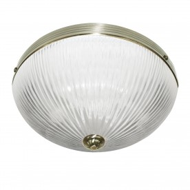 WINDSOR II - 2LT CEILING FLUSH ANTIQUE BRASS CLEAR RIBBED GLASS