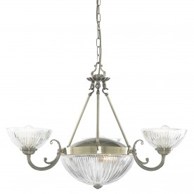 WINDSOR II - 5LT CEILING ANTIQUE BRASS CLEAR RIBBED GLASS