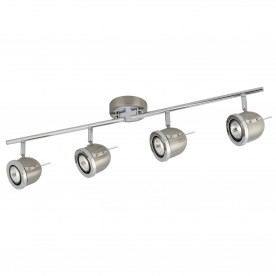 PALMER - 4LT SPOTLIGHT SPLIT BAR SATIN SILVER WITH CHROME TRIM ADJUSTABLE ARMS