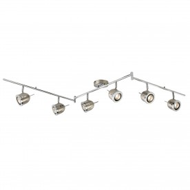 PALMER - 6LT SPOTLIGHT SPLIT BAR SATIN SILVER WITH CHROME TRIM ADJUSTABLE ARMS