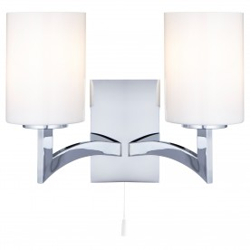 GINA - 2 LIGHT WALL BRACKET CHROME WHITE GLASS SHADES