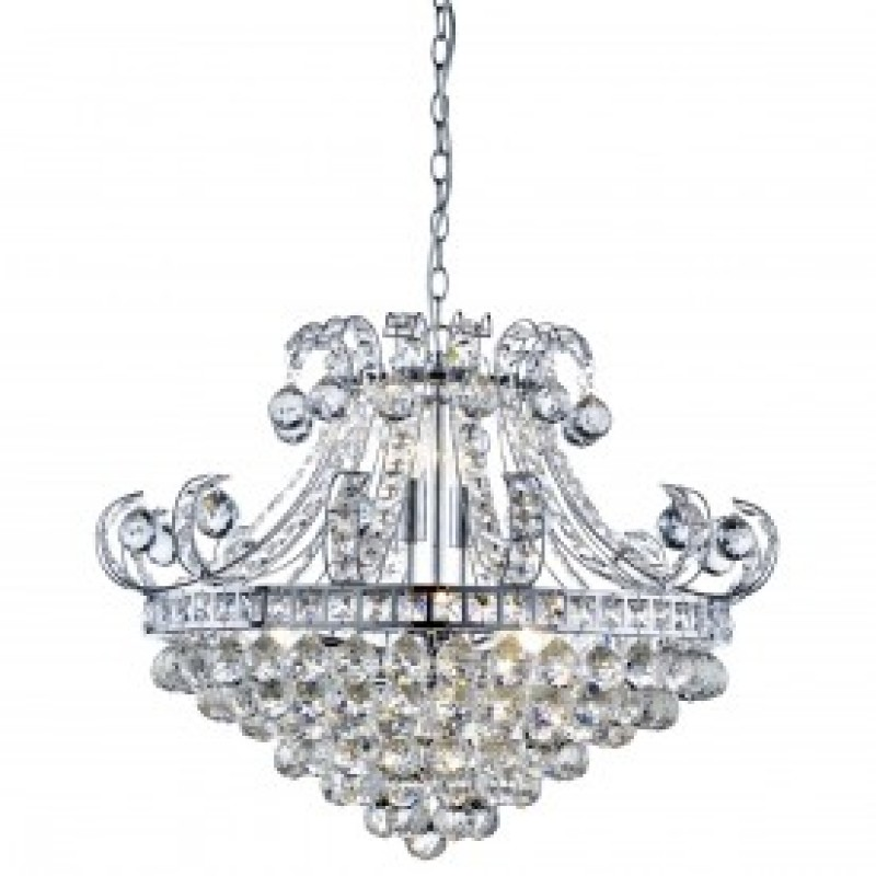 BLOOMSBURY 6LT CRYSTAL TIERED CHANDELIER CHROME CLEAR CRYSTAL DECO